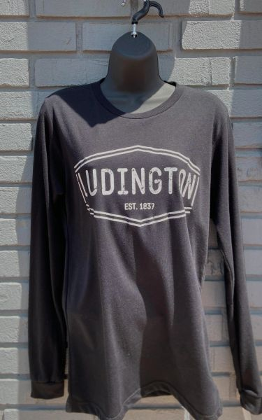 Unisex Jersey Long Sleeve Tee Ludington (Black)