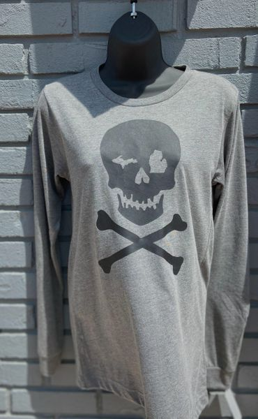 Unisex Long Sleeve Tee Skull (Grey)