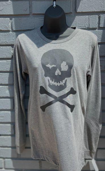 Unisex Long Sleeve Tee Skull (Grey)