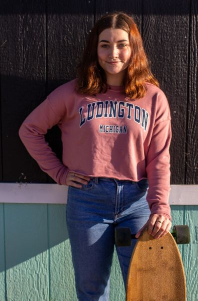 Women's Cropped Crew Fleece Ludington Mi (Muave)
