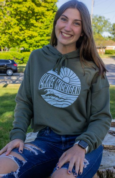 Women's Cropped Fleece Hoodie Lake Mi (Military Green)