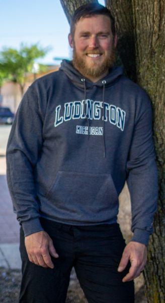 Unisex Hooded Pullover Ludington (Heather Navy)