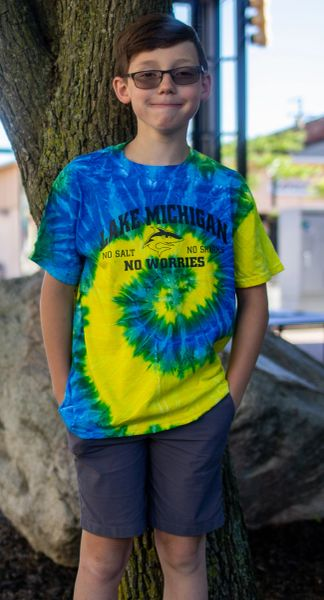 Youth Tie Dye Heavyweight Tee Lake MI No Salt, No Sharks, No Worries (Spiral Blue/Yellow)