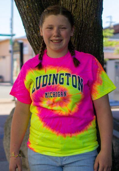 Tie Dye Heavyweight Tee Classic Ludington Mi (Fluorescent Swirl)