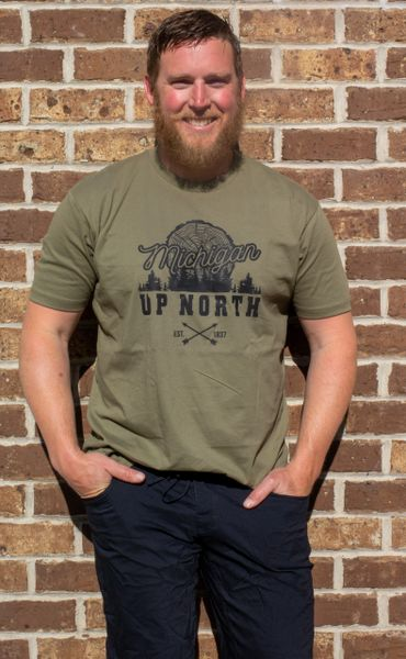 Unisex Tee Shirt Up North MI Log (Military Green)
