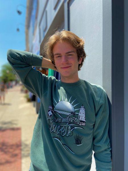 Unisex Midnight Pigment Dyed Crewneck Pullover Sweatshirt (Alpine Green)