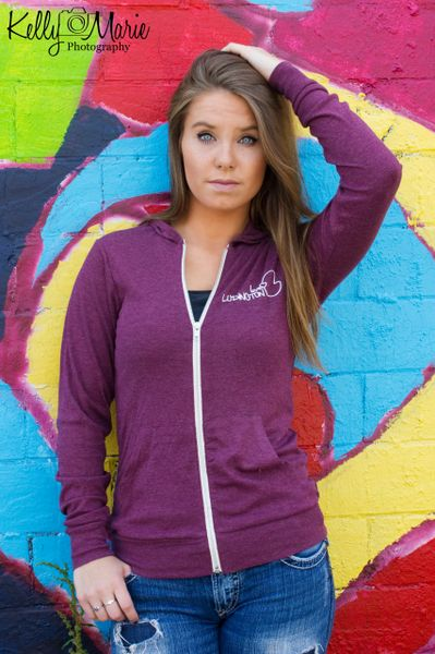 Love Ludington Zip-Up Sweatshirt (Maroon)