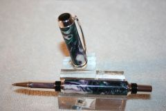 Handcrafted Acrylic Pen - Baron Roler Ball Pen in an Artisan Snowy Vineyard Acrylic Finished in Fine Sterling Silver