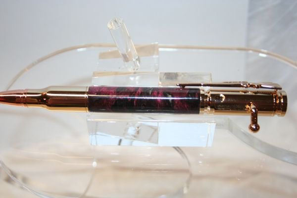 Handcrafted Wooden Pen - Bolt Action Double Dyed Pink and Black Spalted Hackberry Pen Finished in 24 ct Gold