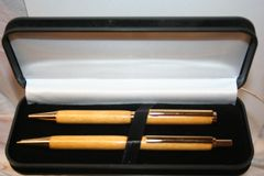 Handcrafted Wooden Pen - Yellow Heart Slim Twist Pen and Click Pencil Set in a Bright Gold Finish with a Presentation Box