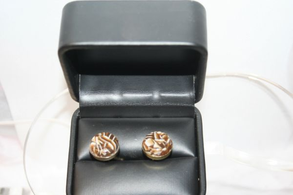 Handcrafted Cracked Coffee Bean Acrylic Gold Plated Cuff Links