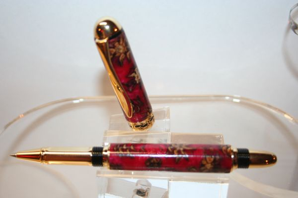 Handcrafted Acrylic Pen - Sedona Roller Ball Pen in Red Pearl Alumilite and Pine Cones Finished in a Bright Gold Finish