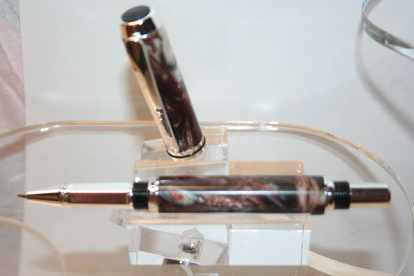 Handcrafted Acrylic Pen - Baron Roller Ball Pen in an Artisan Silver Bells Acrylic Finished in Fine Sterling Silver