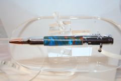 Handcrafted Acrylic Pen - Bolt Action Sunken Treasure Artisan Acrylic Pen Finished in Chrome
