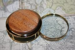 Handcrafted African Mahogany Magnifying Glass Paperweight in a Beautiful 24 ct Gold Finish