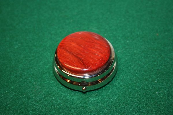 Handcrafted Wooden Mini Pill or Secret Box - African Padauk Cap on a Pewter Finished Pill Box/Secret Box