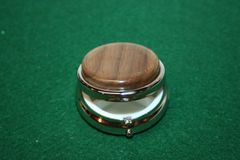 Handcrafted Wooden Mini Pill or Secret Box - North American Walnut Cap in a Pewter Finished Mini Pill or Secret Box