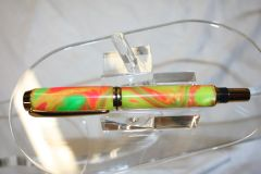 Handcrafted Acrylic Pen - Baron Roller Ball in Premium Neon Citrus Artisan Acrylic Pen Finished in Bright Gold