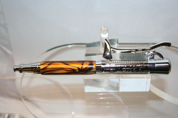 Handcrafted Acrylic Pen - Fireman's Pen with Smoldering Embers Acrylic Finished in Beautiful Gunmetal and Chrome