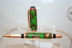 Handcrafted Acrylic Pen - Exquisite Baron Roller Ball Pen in Vibrant Green Pearl Acrylic and Pine Cones Finished in Beautiful Satin Copper