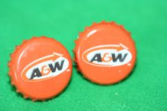 Handcrafted Cuff Links - A & W Root Beer Cap Cufflinks with Bright Gold Plated Bezels