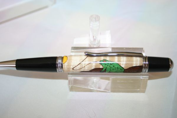 Handcrafted Wooden Pen - Frog Inlay Executive Twist Pen in a Bright Chrome Finish
