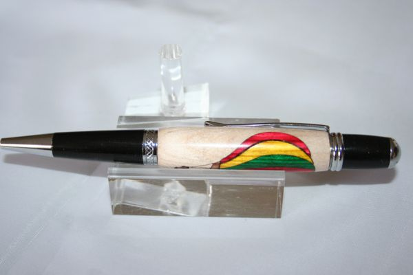 Handcrafted Wooden Pen - Hot Air Balloon Inlay Executive Twist Pen in a Bright Chrome Finish