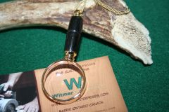 Handcrafted Ancient Bog Oak Mini Magnifying Glass Pendant in a Beautiful 24 ct Gold Finish