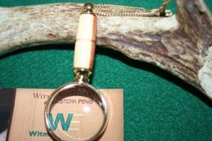 Handcrafted Red Cedar Mini Magnifying Glass Pendant in a Beautiful 24 ct Gold Finish
