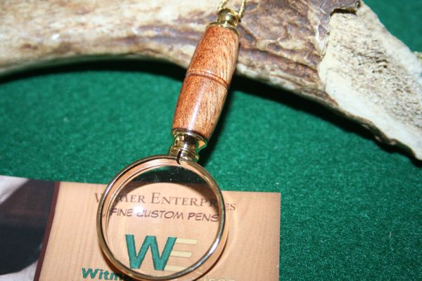 Handcrafted Hawaiian Avocado Mini Magnifying Glass Pendant in a Beautiful 24 ct Gold Finish