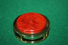 Handcrafted African Padauk Magnifying Glass Paperweight in a Beautiful 24 ct Gold Finish