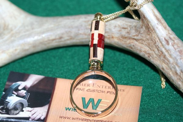 Handcrafted Checker Board Laminate Mini Magnifying Glass Pendant in a Beautiful 24 ct Gold Finish