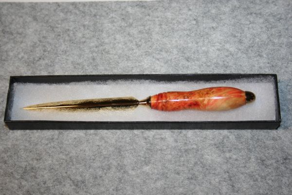 Handcrafted Flame Box Elder Burl Slim Letter Opener in a Bright 24ct Gold Finish