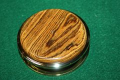 Handcrafted South American Bocote Large Magnifying Glass Paperweight in a Beautiful 24 ct Gold Finish