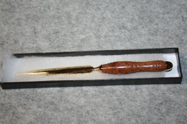 Handcrafted Australian Yellow Box Burl Slim Letter Opener in a Bright 24ct Gold Finish