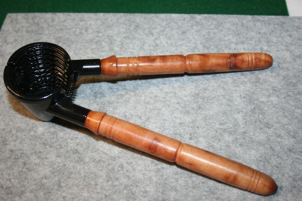 Handcrafted Nutcracker with Camphor Burl Handles Finished in Black Enamel