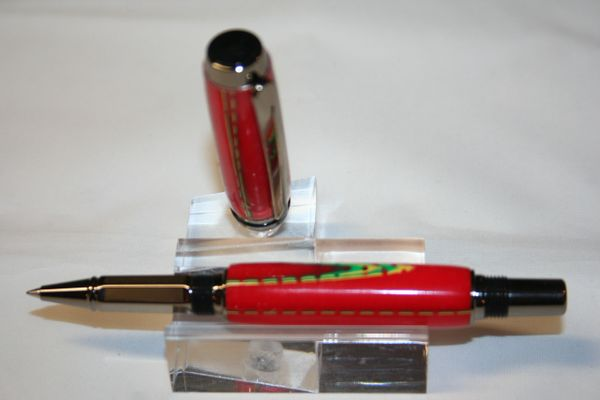 Handcrafted Acrylic Pen - Christmas Mesh Baron Roller Ball Finished in Bright Gunmetal