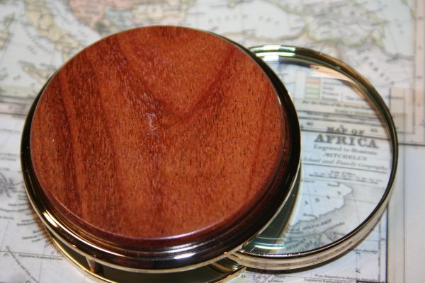 Handcrafted South American Canarywood Large Magnifying Glass Paperweight in a Beautiful 24 ct Gold Finish