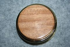 Handcrafted African Mahogany Large Magnifying Glass Paperweight in a Beautiful 24 ct Gold Finish