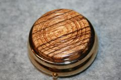 Handcrafted Wooden Mini Pill/Secret Box - Beautifully Grained African Zebrawood Cap in a 24ct Gold Plated Finished Pill or Secret Box