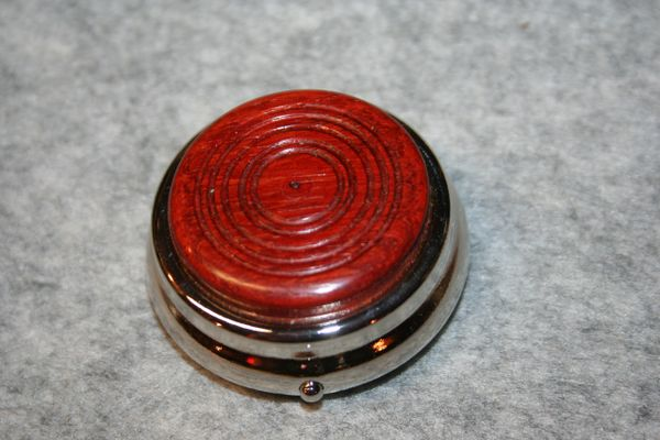Handcrafted Wooden Mini Pill or Secret Box - Fine African Padauk in a Pewter Finished Pill Box/Secret Box