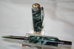 Handcrafted Acrylic Pen - Triton Roller Ball Pen in Night Goblin Lava Alumilite Finished in Bright Chrome with Titanium Gold