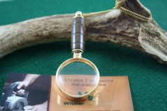 Handcrafted African Wild Pear Mini Magnifying Glass Pendant in a Beautiful 24 ct Gold Finish