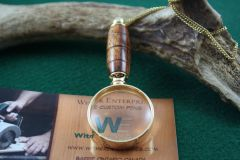 Handcrafted Caribbean Rosewood Mini Magnifying Glass Pendant in a Beautiful 24 ct Gold Finish
