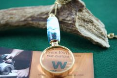 Handcrafted Alpine Summit Alumilte Mini Magnifying Glass Pendant in a Bright 24 ct Gold Finish
