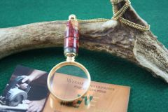 Handcrafted Golden Fire Artisan Acrylic Mini Magnifying Glass Pendant in a Bright 24 ct Gold Finish