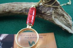 Handcrafted Fiji Orangewood Laminate Mini Magnifying Glass Pendant in a Beautiful 24ct Gold Finish