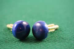 Handcrafted Blue Dyed Buckeye Burl 24 ct Gold Plated Cuff Links