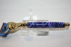 Handcrafted Razor Handle in Purple Haze Acrylic for Gillette Fusion Pro-Glide/Gillette 5, Finished in Bright Gold