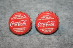 Handcrafted Cuff Links - Georgia Peach Coca Cola Soda Cap (Canadian) Cufflinks with Bright 24ct Gold Plated Bezels